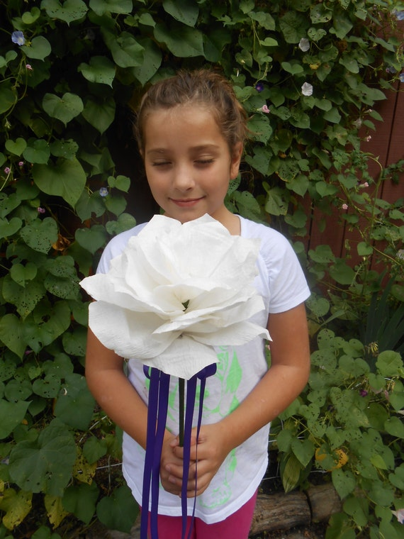 Crepe Paper Flower Girl Wands. CHOOSE YOUR COLORS. Bridesmaid Flower. Custom Orders Welcome.