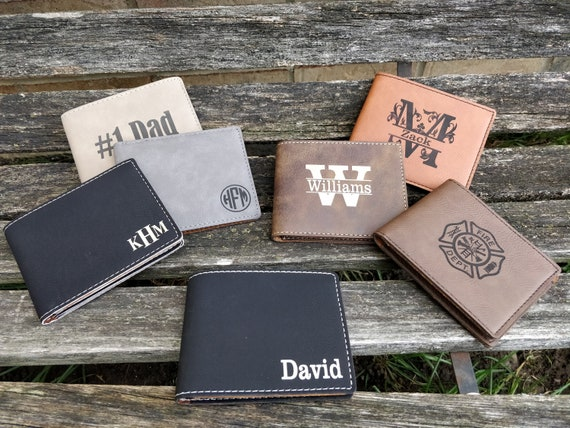 Customized Wallet. Leather, Laser Engraved. Travel, Wedding, Groomsmen Gift, Dad, Anniversary. Groom, Birthday, Christmas, Custom