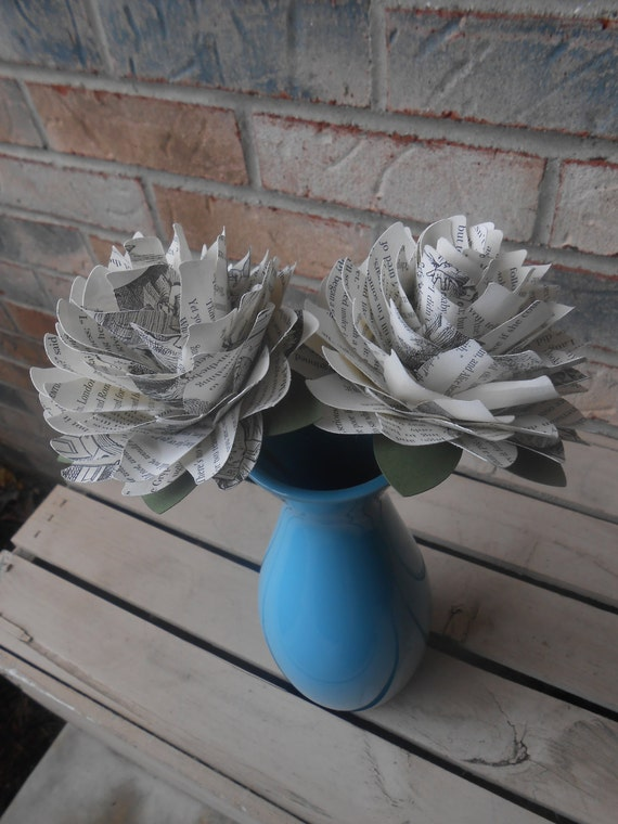 Alice In Wonderland Dahlias. Perfect for First Anniversary, Wedding, Birthday. Unique Gift. Custom Orders Welcome. Book Paper Flower