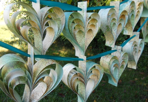 Vintage Map Heart Garland. 10 Hearts. Wedding, Shower Decoration, Home Decor. Custom Orders Welcome.