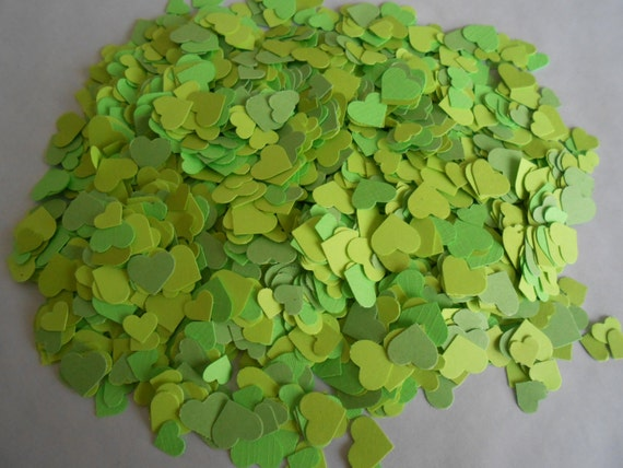 Over 2000 Mini Confetti Hearts. LIME Mix. Weddings, Showers, Decorations. ANY COLOR Available.