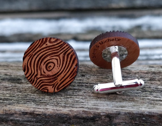 Personalized Cufflinks. Wood Grain. Wedding, Groom Gift, Anniversary, Birthday. Silver, Monogram, Date, His Hers, Groomsmen