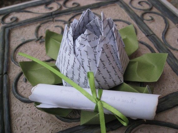 Personalized Origami Lotus, With Message Scroll. Unique Anniversary Gift, Wedding Decoration, Favor, Valentine. Proposal