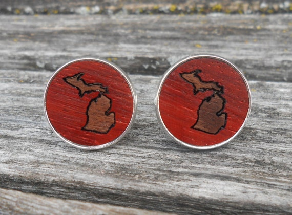 Wood State Cufflinks, Inlay. Wedding, Groomsmen, Dad, Groom, Anniversary, Birthday.
