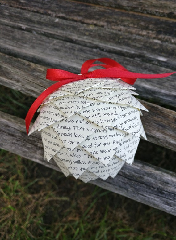 YOUR SONG Ornament. Choose Your Lyrics!! Holiday, Christmas Decoration.  Wedding, Gift, Birthday, First Anniversary. Ornaments. Music