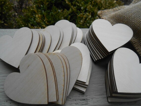 """25 Wood Hearts. 2.5 Inch. 1/8"""" Thick, Laser Cut. Custom Orders Welcome. 2mm"""