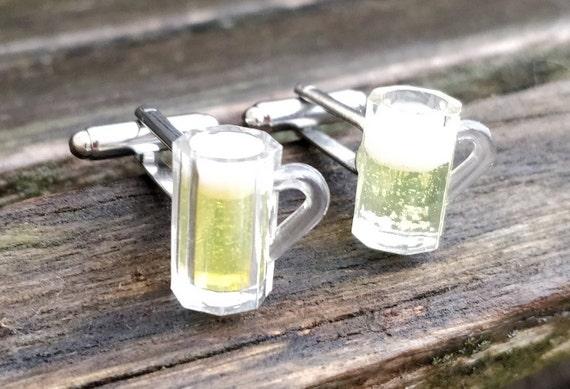 Beer Cufflinks. Gift, Groom, Anniversary, Groomsmen, Birthday, Dad, Funny. Miniature Beer Glass. Mug.
