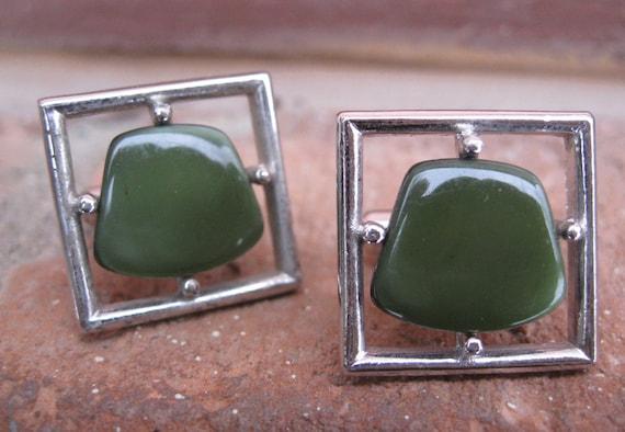Vintage Green Stone Cufflinks. Silver Toned. Wedding, Men's Christmas Gift, Dad.