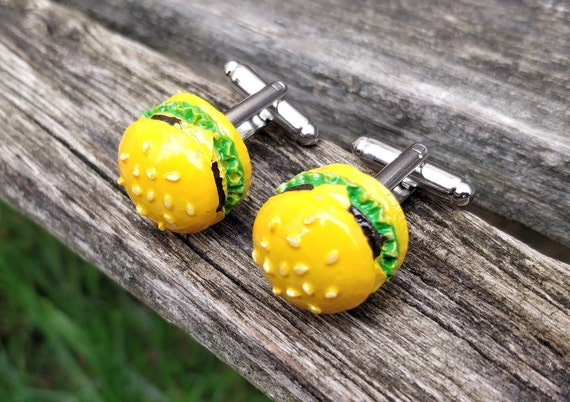 Hamburger Cufflinks. Wedding Gifts, Groom, Groomsmen Gift, Dad, Anniversary, Birthday.