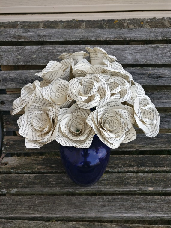 Book Rose Bouquet. First Anniversary, Weddings, Birthdays. Unique Gift. CUSTOM ORDERS WELCOME.