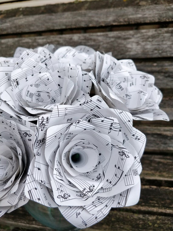 Sheet Music Roses. Bridal, Anniversary, Centerpiece, Mother's Day. Paper Flowers.