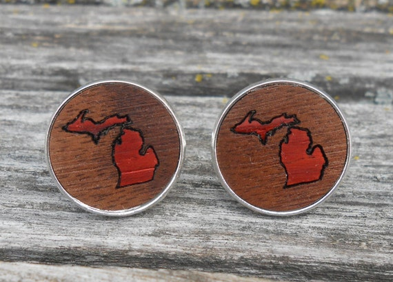 Wood State Cufflinks. Inlay. Wedding, Groom, Anniversary, Groomsmen Gift, Dad. Custom Orders Welcome. Wolverines, Spartan, Dunes