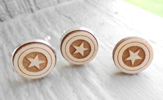 Star Cufflinks & Tie Tack. Laser Engraved Wood. Wedding, Men's, Groomsmen Gift. Custom Orders Welcome. Lapel PIn, Tie Tac