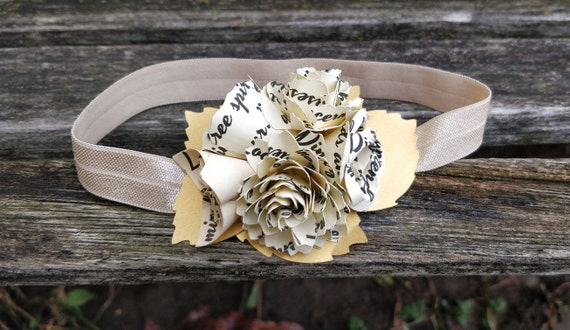 Custom Paper Flower Headband. CHOOSE YOUR COLORS. Bridesmaid, Flower Girl, Baby Hairpiece, Baby Hair, Toddler Headband