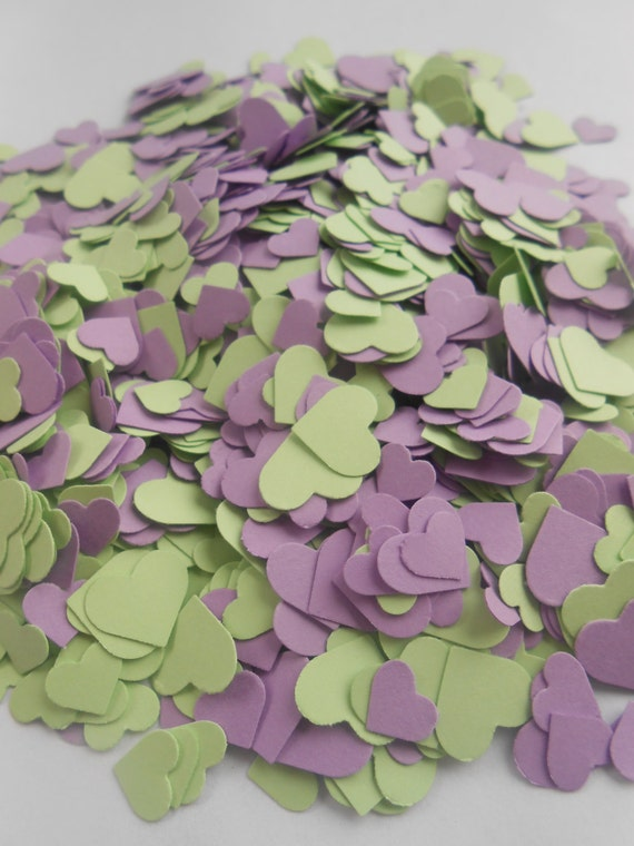 Over 2000 Mini Confetti Hearts. MINT LAVENDER MIX. Weddings, Showers, Decorations. Or Choose Your Colors.
