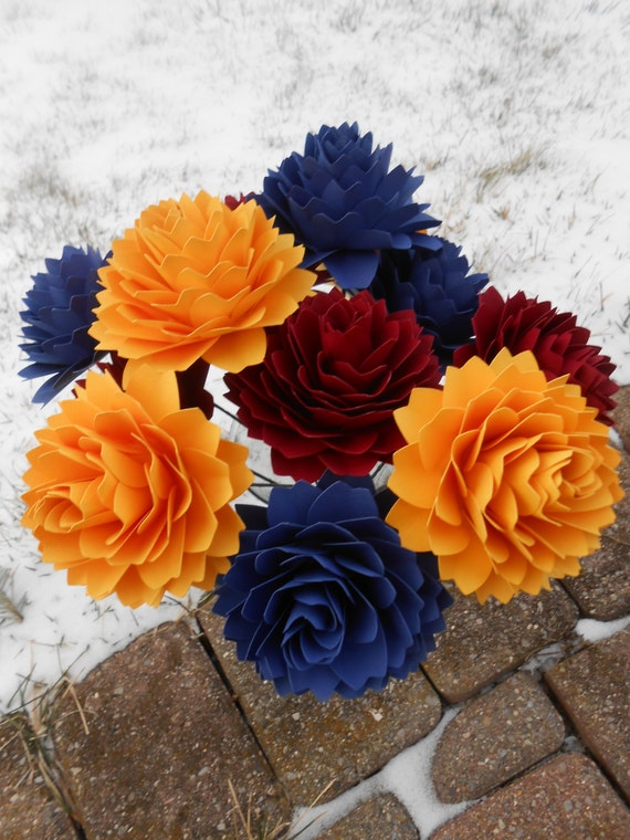 One Dozen Dahlias, Primary Colors. Or CHOOSE YOUR COLORS.  Handmade Bouquet. Other Colors Available. Custom Orders Welcome.