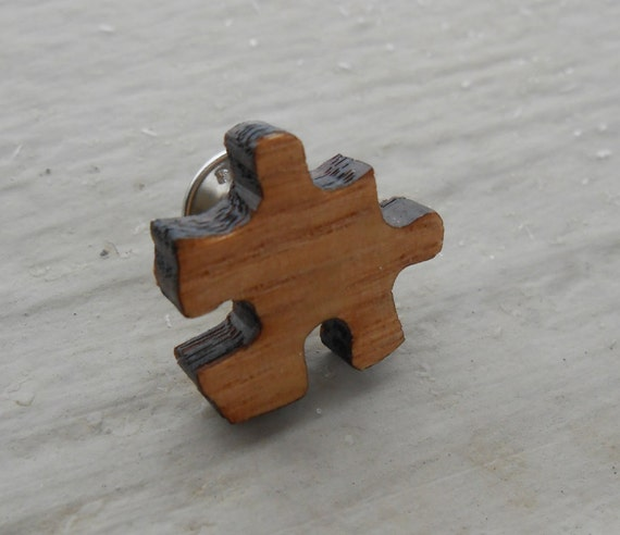 Puzzle Piece Tie Tack. Wedding, Gifts For Him, Groomsmen Gift, Dad. Silver Plated.