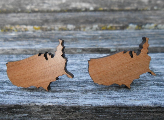 United States Cufflinks. Laser Engraved Wood. Wedding, Men's Christmas Gift, Dad. Silver Plated. USA, Map