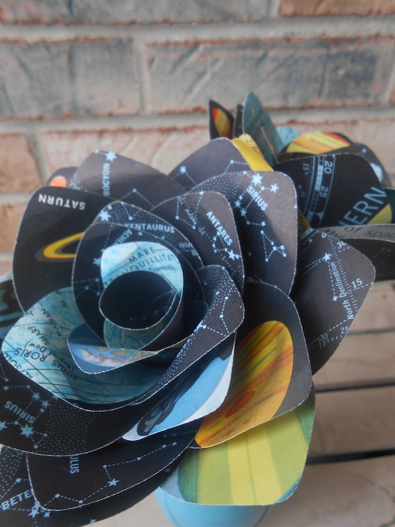 Space Paper Roses, Constellations & Planets. Gift For Birthday, Anniversary, Wedding , Favor, Mother's Day. Vintage Map