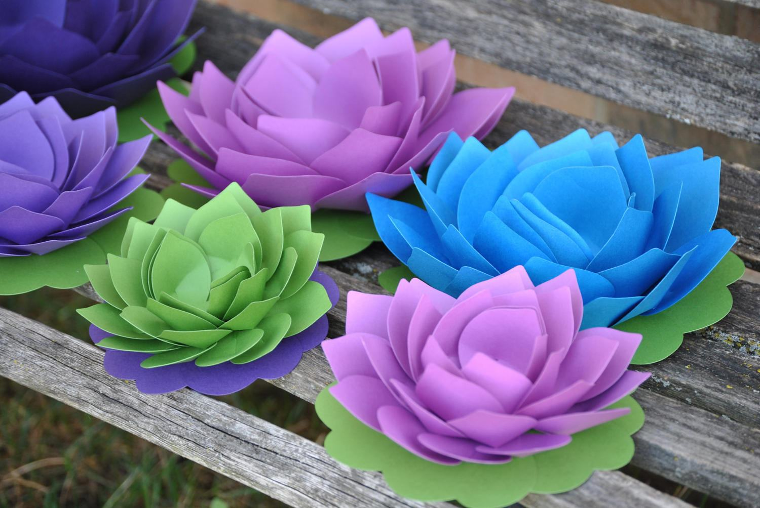 8 Lotus Flowers Choose Your Colors Wedding Decoration Display