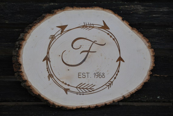 Personalized Wood Monogram Sign. Rustic Wedding Gift. Wood Round, Laser Engraved. Letter, Name. Arrow