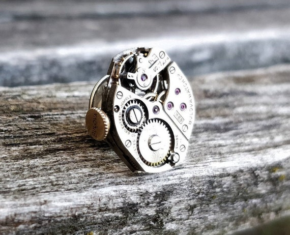 Steampunk Watch Tie Tack. Wedding, Men, Groom Gift, Dad, Groomsmen, Anniversary, Birthday, Unique, Father's Day. Vintage Watch.