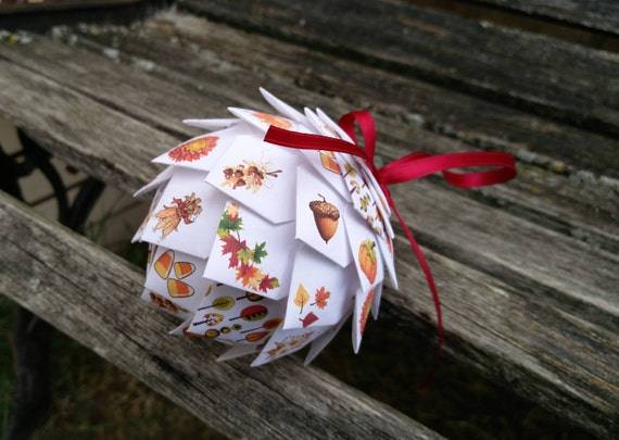Fall Paper Ball Ornament. Decoration, Christmas, Gift, Autumn, Anniversary, Thanksgiving. Unique Gift
