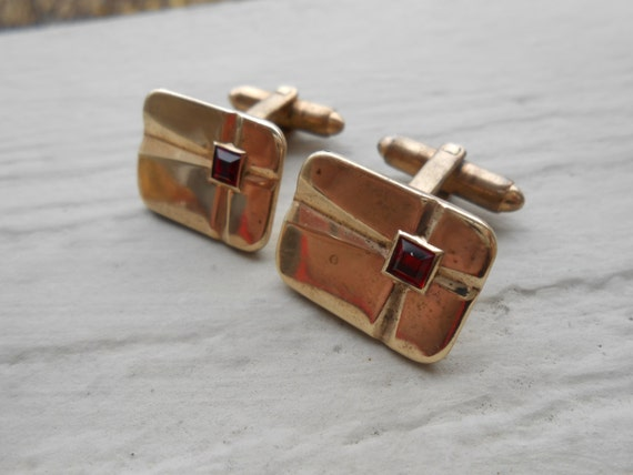 Vintage Red & Gold Cufflinks. Wedding, Men's Christmas Gift, Dad. Art Nouveau. Gold Plate.
