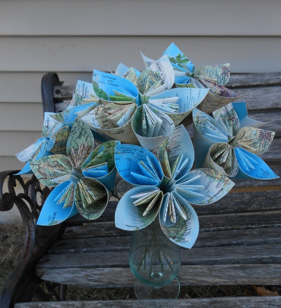 One Dozen Vintage MAP Paper Flowers. Handmade Bouquet. Bridal, Anniversary, Centerpiece. CUSTOM ORDERS Welcome.