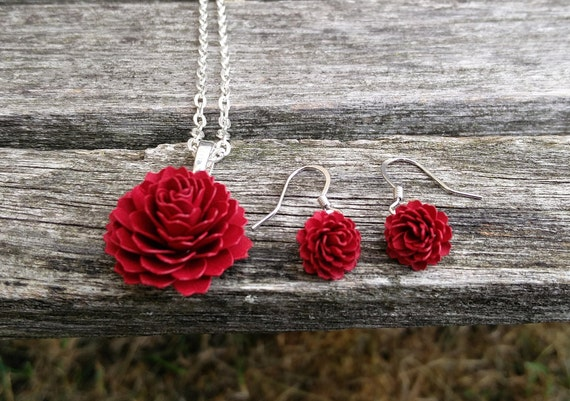 Dahlia Necklace & Earring Set. CHOOSE YOUR COLORS. Bridesmaid Gift, Bridal, Christmas, First Anniversary, Mother's Day. Unique