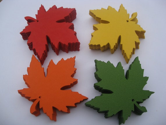 100 Maple Leaves, 4 inch. CHOOSE YOUR COLORS. Wedding, Favor, Place Card, Decoration, Escort Card.