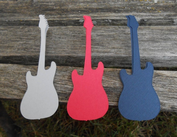 50 Guitars. CHOOSE COLORS & SIZE. Musical Wedding, Table Decor, Place Cards, Seating. Custom Orders Welcome. Sheet Music.