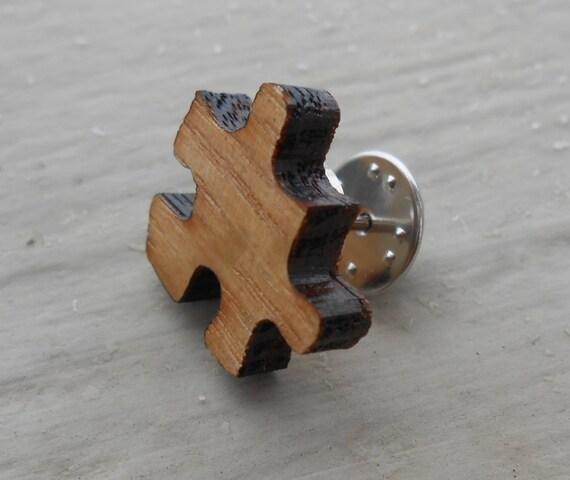 Wood Puzzle Piece Tie Tack. Wedding, Men's, Groomsmen Gift, Dad. Silver Plated.