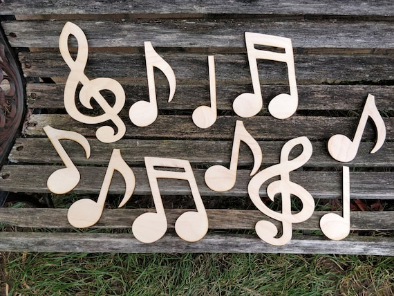 10 Music Notes, Wood. CHOOSE YOUR SIZE. Decoration, Music, Teacher, Birthday, Wedding