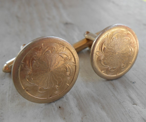 Vintage Engraved Cufflinks. Wedding, Men's Christmas Gift, Dad. Groomsmen. Father's Day.