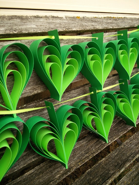 TWO Garlands Of GREEN HEARTS. 10 Hearts. Wedding, Shower Decoration, Home Decor. Custom Orders Welcome. Any Color Available.