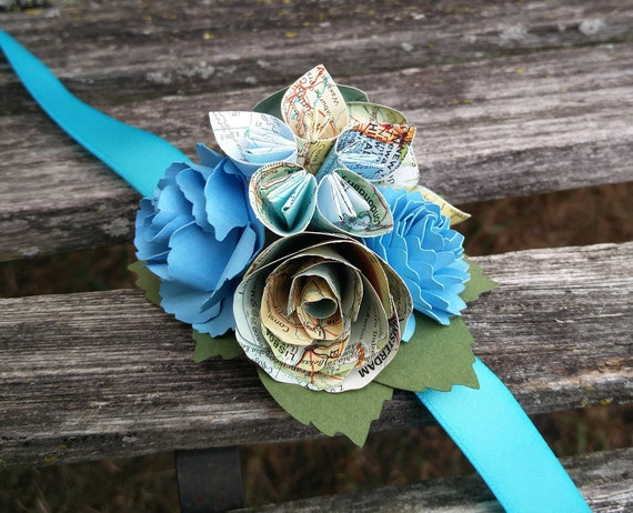 Custom Map Corsage. CHOOSE YOUR COLORS. Wrist or Pin-On. Weddings, Prom, Homecoming, Flower Girl, Etc.
