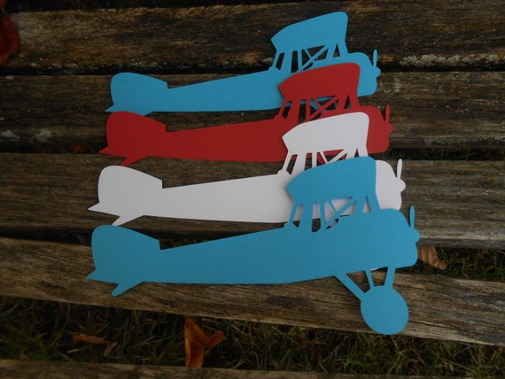 "10"" Airplanes. CHOOSE YOUR COLORS. Boy's Birthday, Party Decor, Garland. Scrapbooking. Custom Orders Welcome."