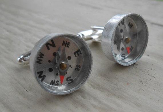COMPASS Cufflinks. Wedding, Men's, Groomsmen Gift, Dad., Father's Day, Birthday, Anniversary. Unique Gift. Silver Metal