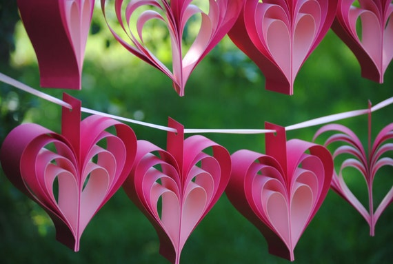 TWO Garlands Of PINK HEARTS. 10 Hearts. Wedding, Shower Decoration, Home Decor. Custom Orders Welcome. Any Color Available.