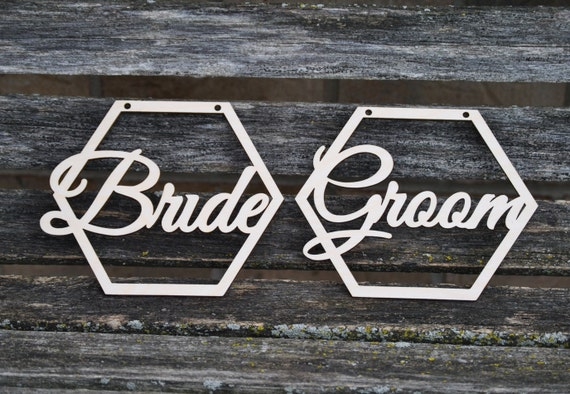 BRIDE & GROOM Wood Signs. Chair Sign. Wedding Decoration. Rustic. Custom, Personalized.