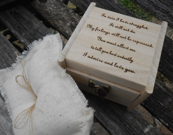 Pride & Prejudice Ring Box, Pillow. Austen, Mr. Darcy Proposal. CHOOSE YOUR PILLOW Style! Wedding Accessories. Ring Bearer, Bridal. Chest.
