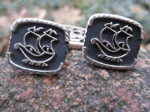 Vintage Ship Cufflinks & Tie Clip. Silver Tone. Wedding, Men's Christmas Gift, Dad. Schooner, Sailboat, Boat, Pirate