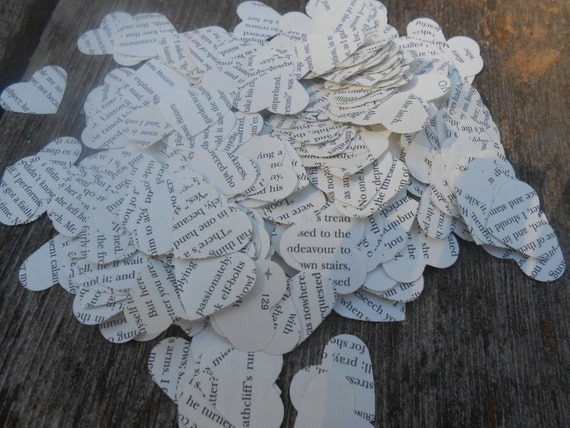 1000 Wuthering Heights Confetti, Heart-Shaped.  Upcycled Book Confetti. Custom Orders Welcome.