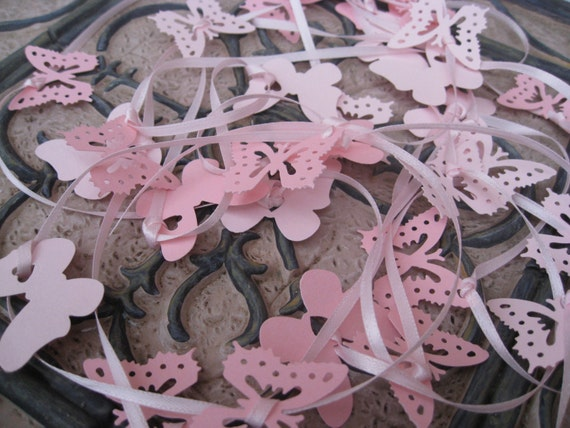 15 Foot Butterfly Garland In PINKS.  Wedding, Shower, Decoration.Or CHOOSE Your COLORS.  Custom Orders Welcome.