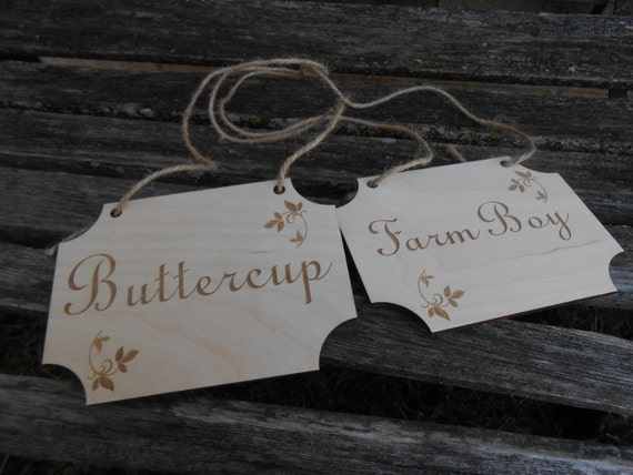 BRIDE & GROOM Wood Signs. Laser Cut, Buttercup, Farm Boy, Westley. His Hers Chair Sign, Wedding Decoration. Rustic.