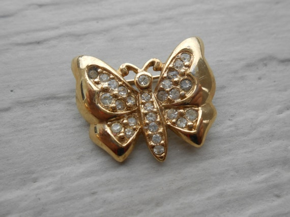 Vintage  BUTTERFLY Rhinestone Pin