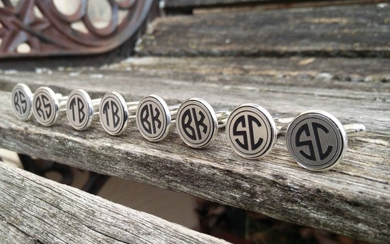Monogram Cufflinks. CHOOSE YOUR LETTERS. Wedding, Men, Groom, Groomsmen Gift, Dad. Custom, Personalized. Gold Or Silver