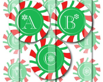 ON SALE Christmas Peppermint Alphabet Initials 1 INCH Circle Digital Bottle Cap Image Collage For Bottle Cap Jewelry And Hairbows