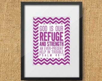 Refuge Scripture Printable Digital Art Print   Instant Download Bible Verse Psalm 46:1